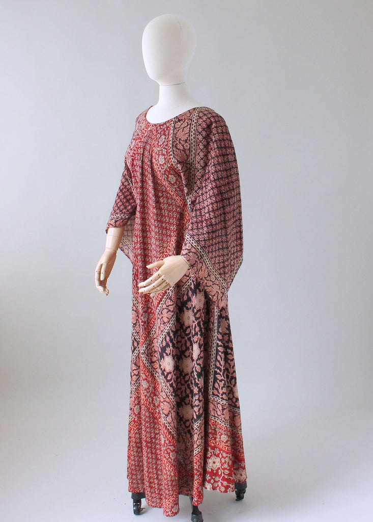Vintage 1960s Adini Indian Cotton Caftan Dress