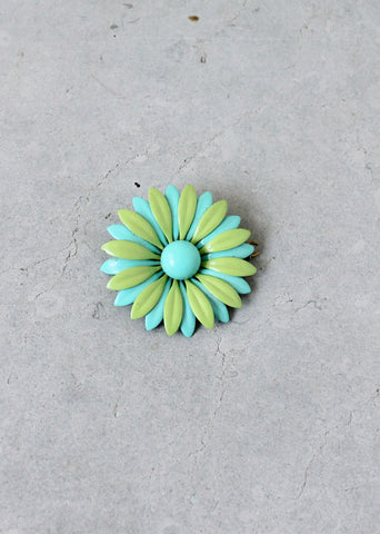 Vintage 1960s Large MOD Enameled Flower Hair Barrette