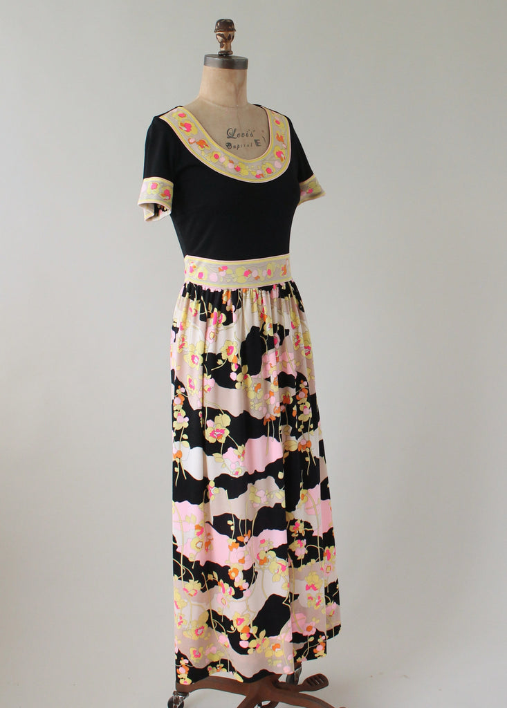 Vintage 1960s Mr Dino MOD Floral Maxi Dress