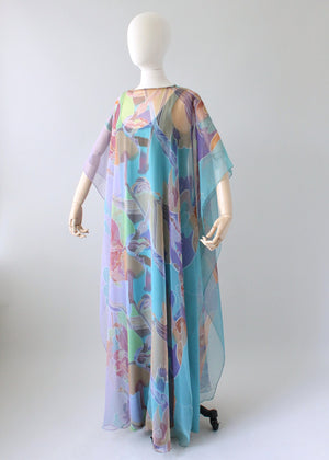 Vintage 1970s Abstract Chiffon Caftan Dress
