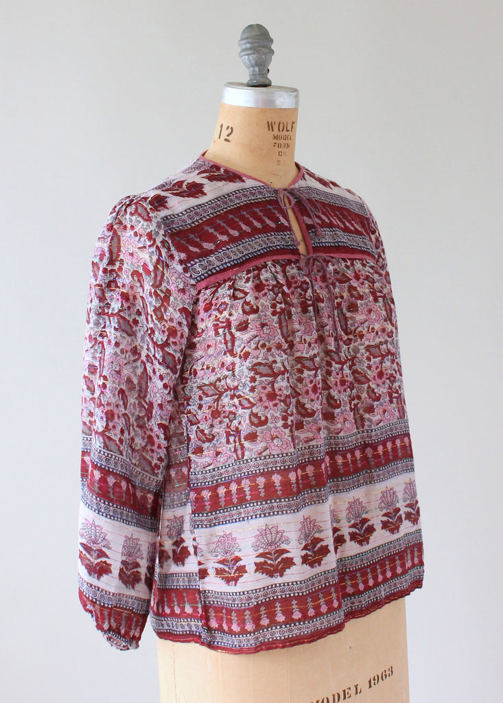 Vintage 1970s Indian Cotton Boho Shirt with Metallic Stripes
