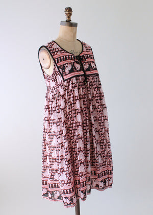 Vintage 1970s Red and Black Indian Cotton Sundress