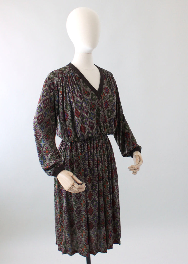 Vintage 1970s Missoni Graphic Print Silk Dress