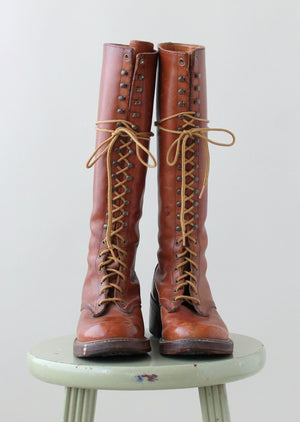 Vintage 1970s Brown Leather Tall Lace Up Boots