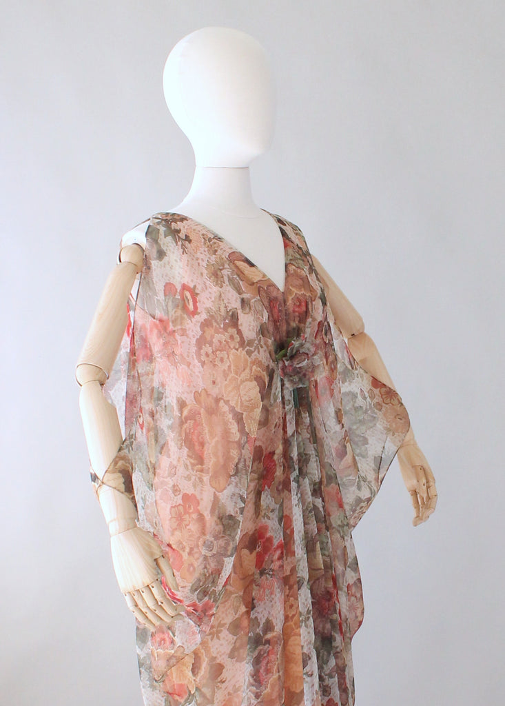 Vintage 1970s Open Sleeve Floral Chiffon Caftan Dress