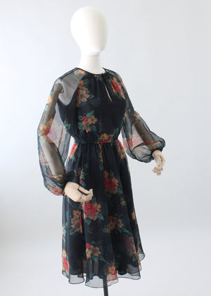 Vintage 1970s Floral Navy Chiffon Day Dress