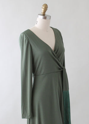 Vintage 1970s Moss Green Tasseled Maxi Dress