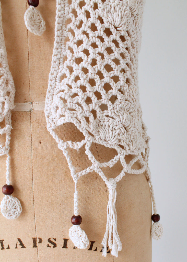 Vintage 1970s Macrame Vest with Wood Beads
