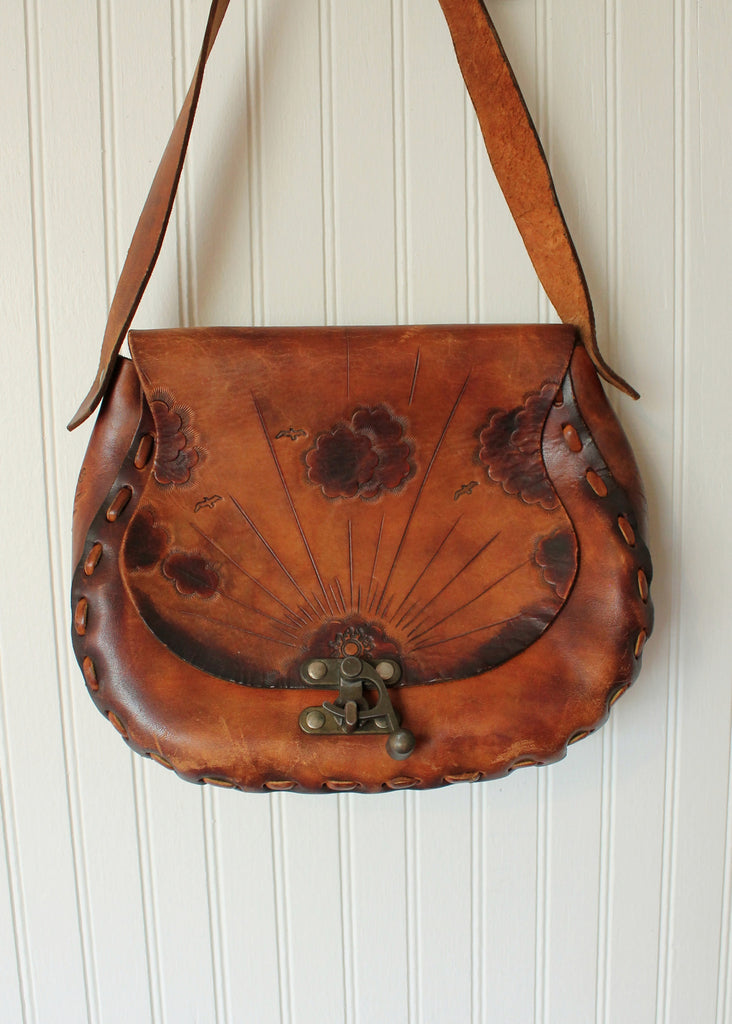Vintage 1970s Sunset Sunrise Tooled Leather Purse