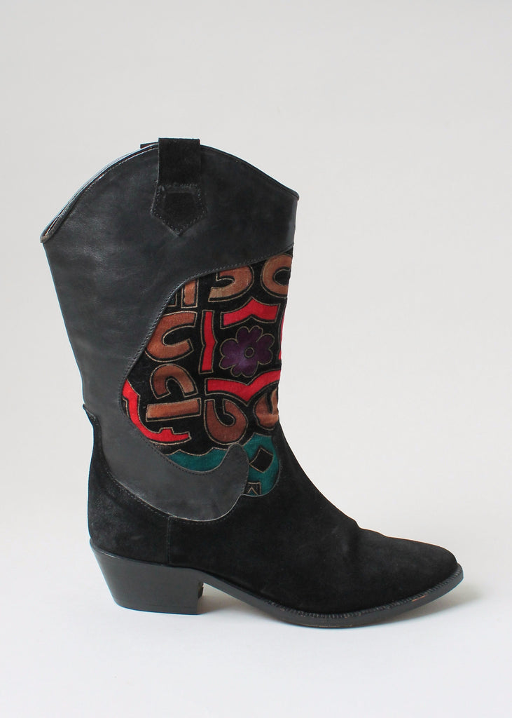 Vintage 1980s Charles Jourdan Leather And Velvet Boots