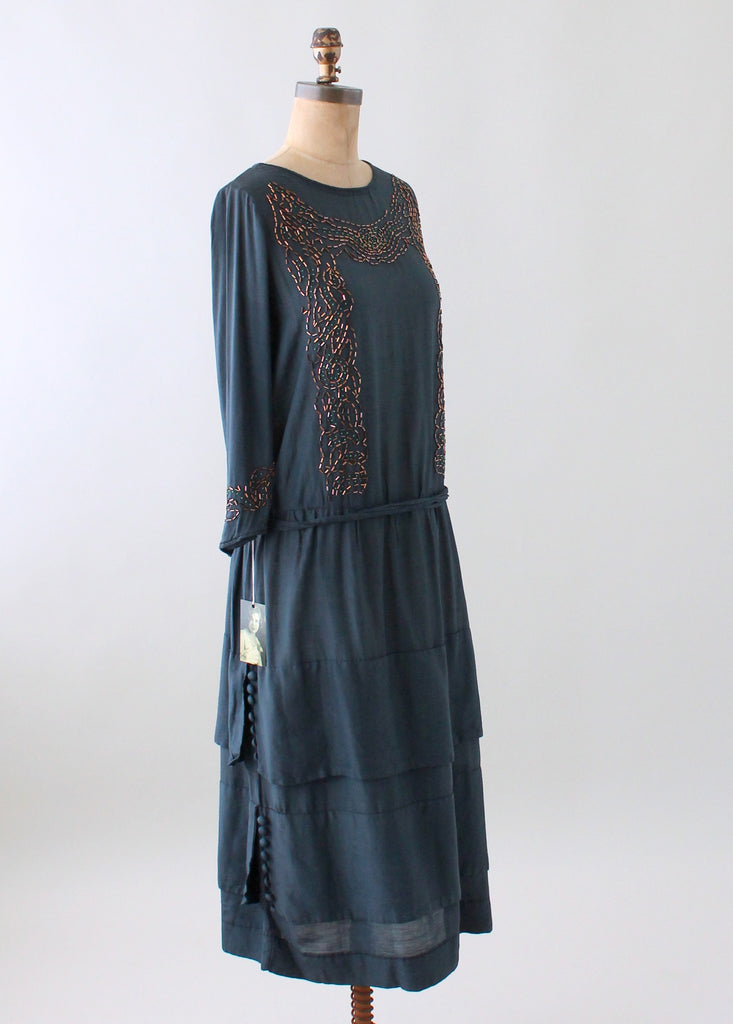 Vintage 1920s Arts and Crafts Beaded Silk Dress