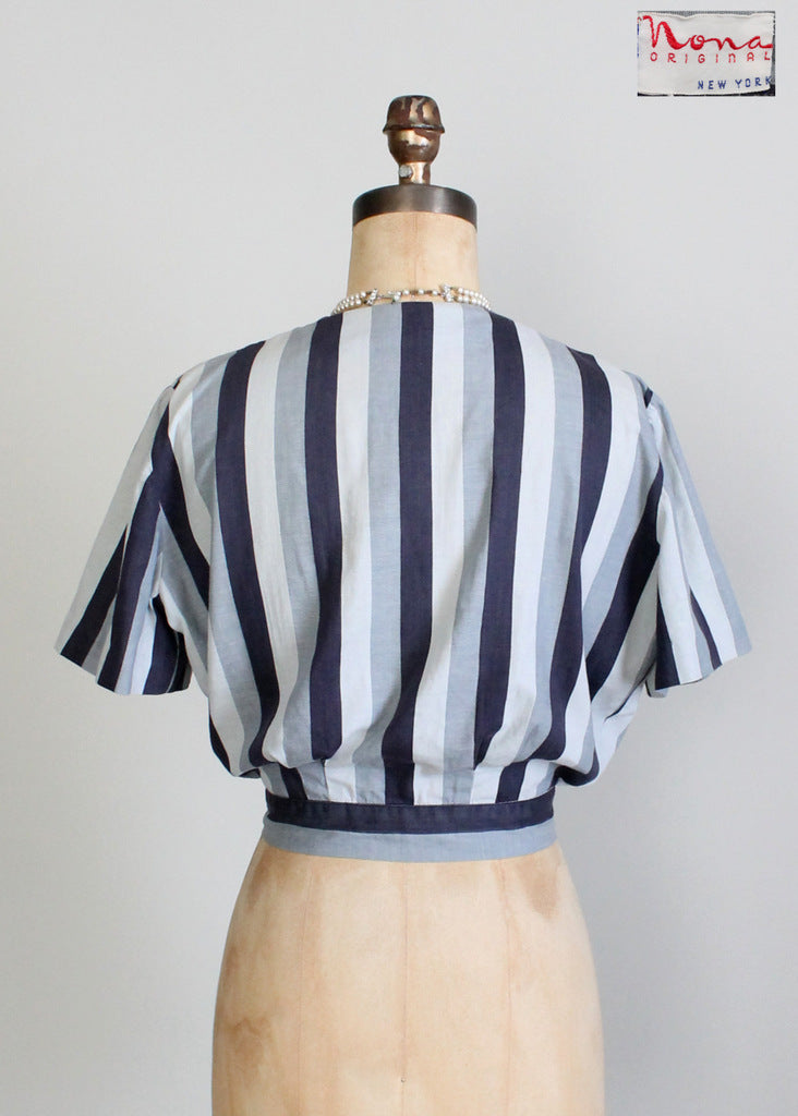 Vintage 1930s Grey Striped Blouse