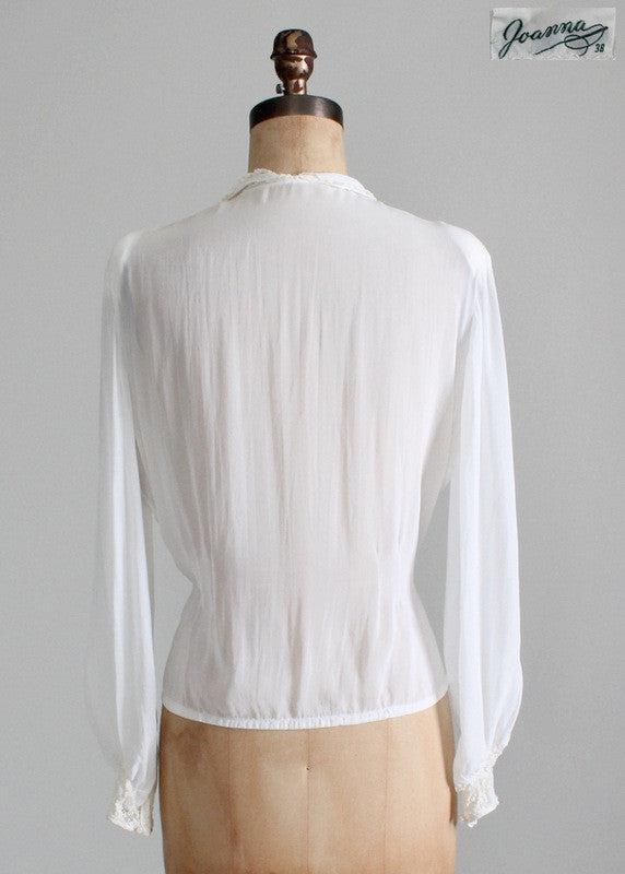 Vintage 1930s White Rayon and Lace Blouse