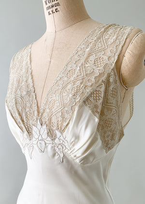Vintage 1930s Rayon and Lace Slip Dress or Gown