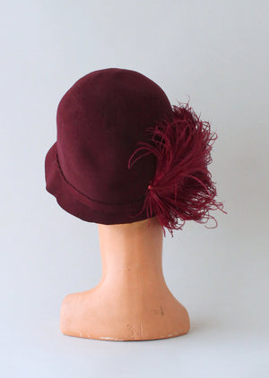 Vintage 1920s Cranberry Felt Plumed Cloche Hat