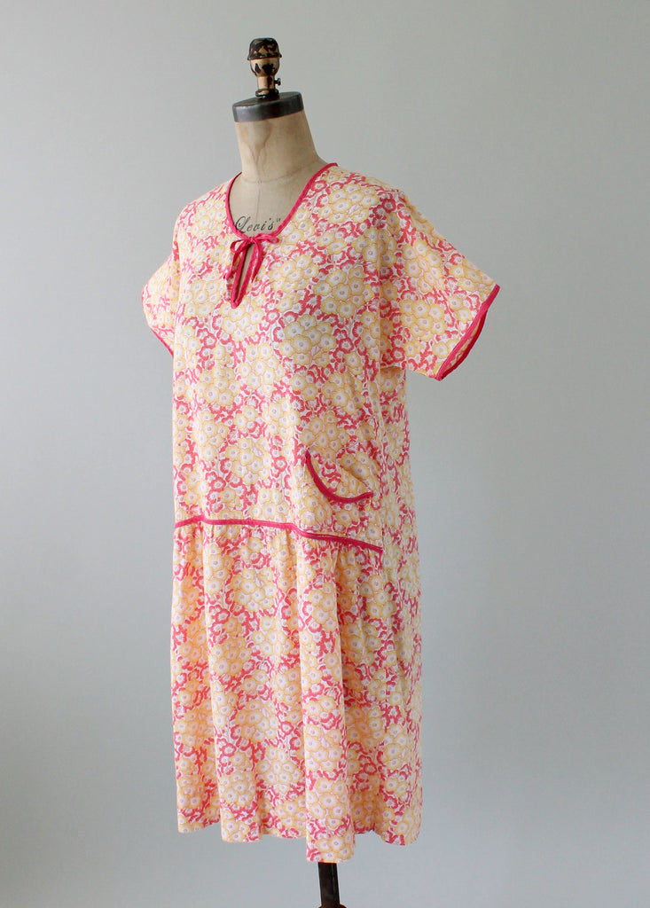 Vintage 1920s Colorful Floral Cotton Day Dress
