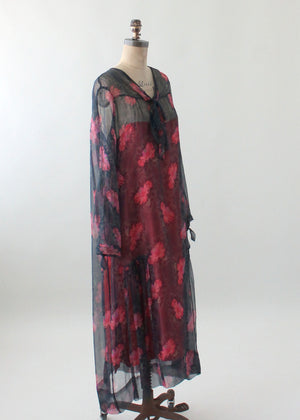Vintage 1920s Navy and Pink Floral Silk Chiffon Dress