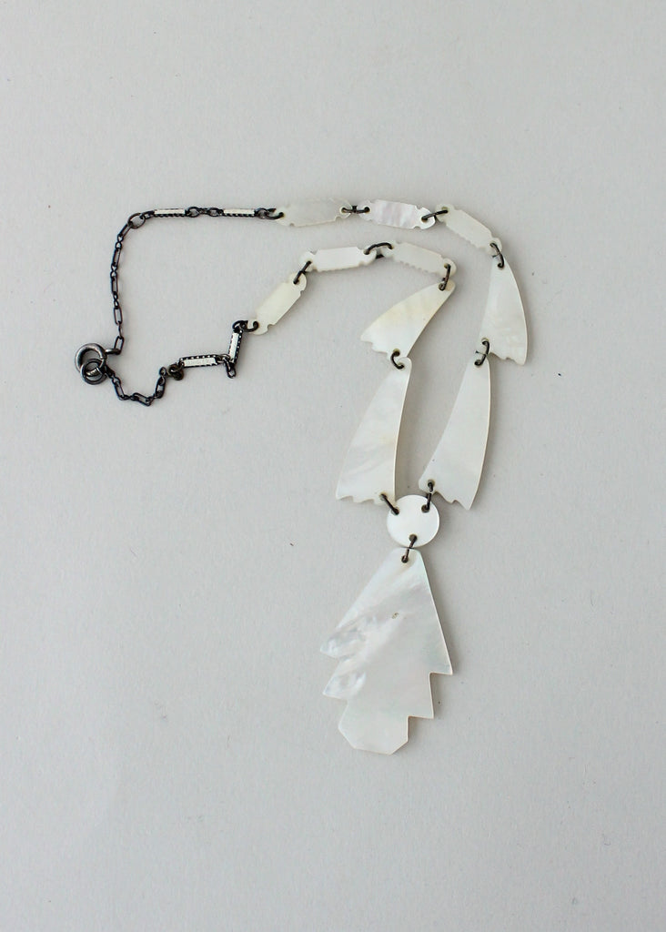 Vintage 1920s Carved Mother of Pearl Necklace
