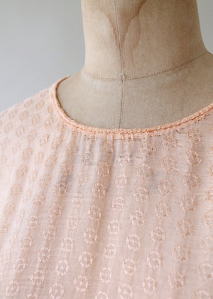 Vintage 1920s Peach Silk Tiered Skirt Tunic Dress