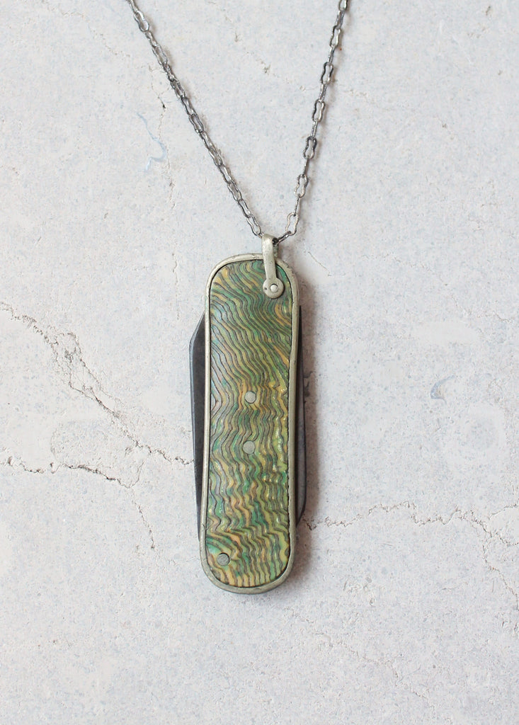 Vintage 1920s Green Shell Pocket Knife Necklace