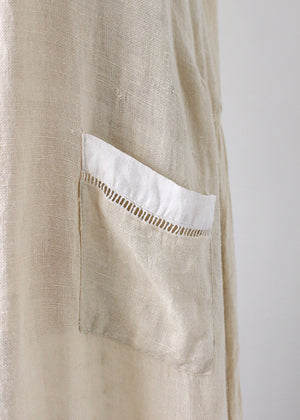 Vintage 1920s Two Tone Linen Day Dress