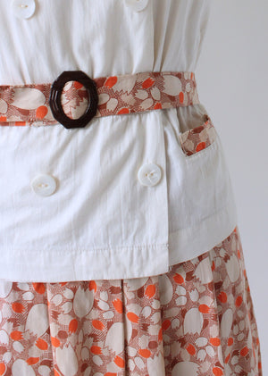 Vintage 1930s Feedsack Cotton Day Dress