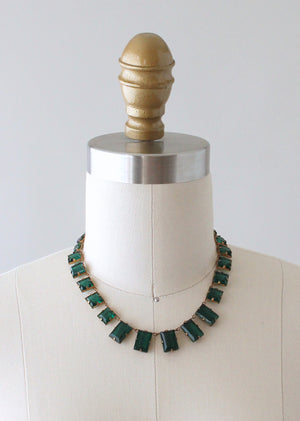 Vintage 1930s Art Deco Green Glass Choker Necklace
