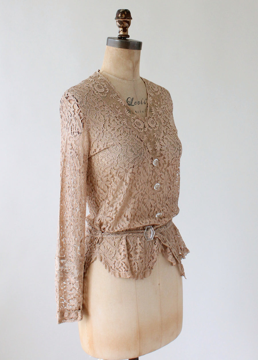 Vintage 1930s Nude Lace Blouse with Glass Buttons