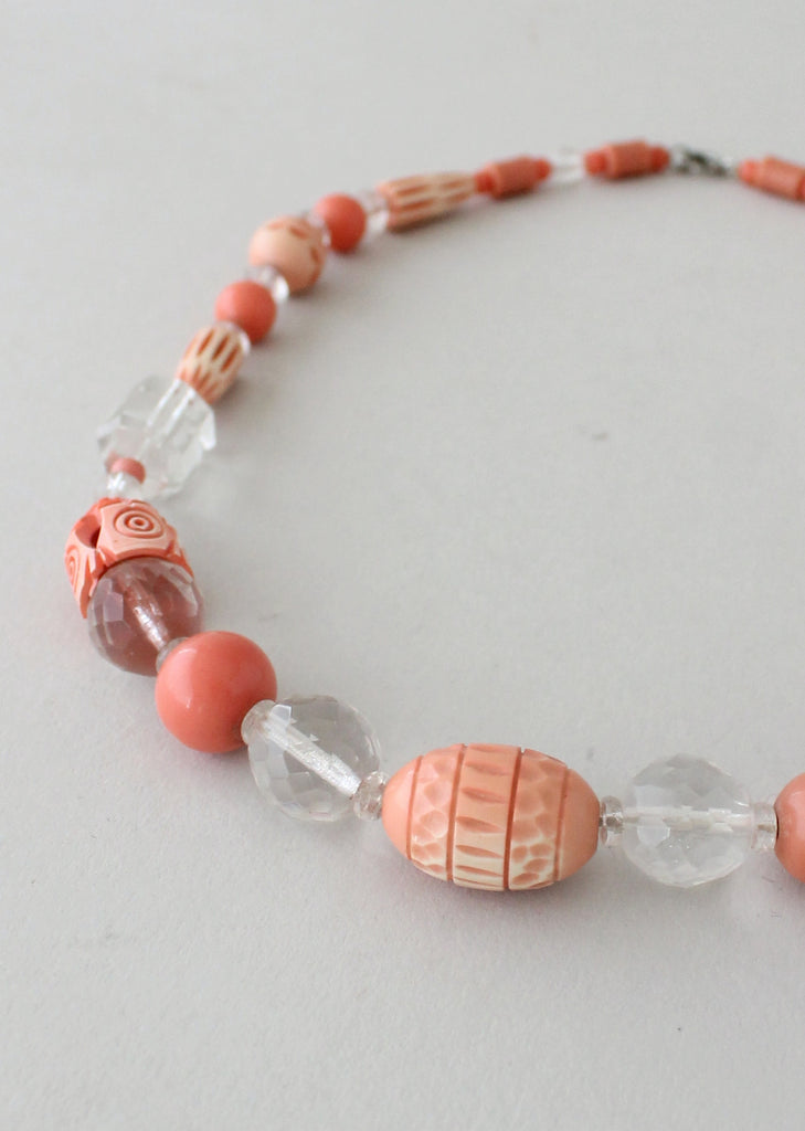 Vintage 1930s Peach Carved Celluloid and Crystal Necklace