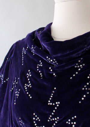 Vintage 1930s Purple Velvet Evening Gown with Rhinestones