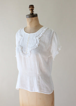 Vintage 1930s Sheer White Button Back Blouse