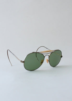 Vintage 1940s Green Glass Aviator Sunglasses