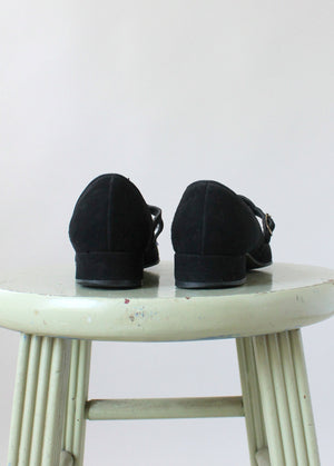Vintage 1940s Black Suede Mary Jane Flats