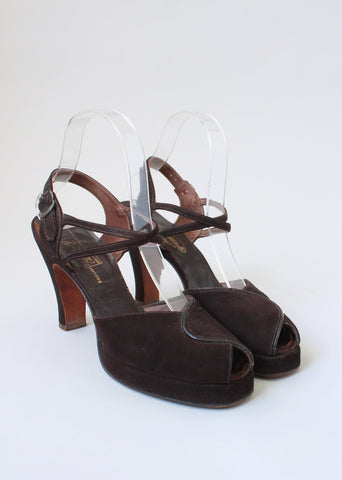 Vintage 1940s Brown Suede Platform Shoes