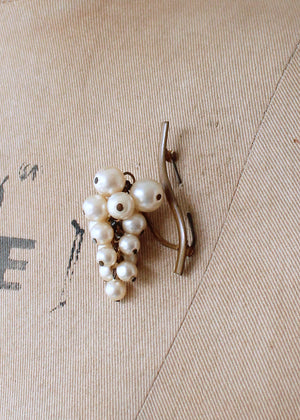 Vintage 1920s Dangling Pearl Grape Cluster Brooch