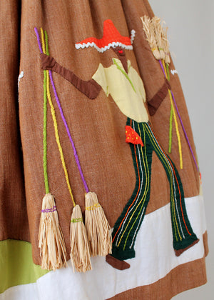 Vintage 1950s Jamaican Novelty Border Souvenir Skirt