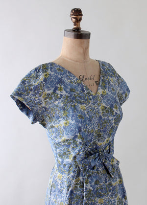 Vintage 1950s Roseweb Blue Floral Silk Dress