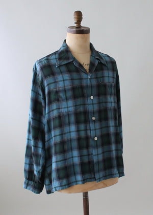 Vintage Blue Plaid Loop Collar Shirt