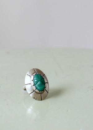 Vintage 1950s Green Onyx Carved Face and Silver Ring