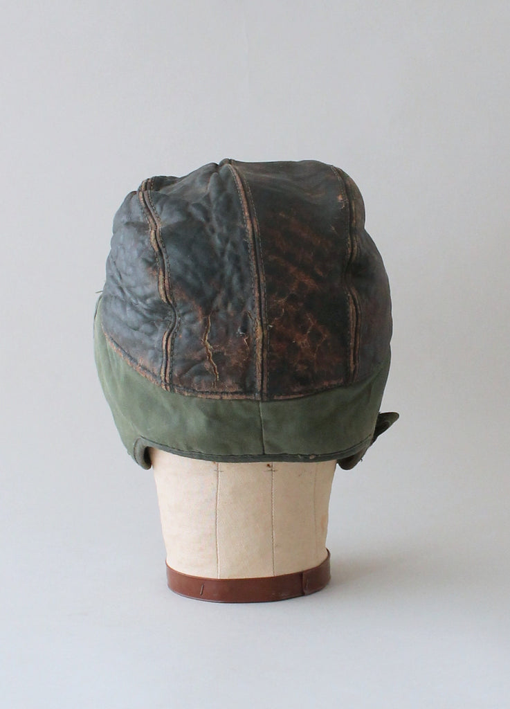Vintage 1950s Distressed Leather Winter Work Cap
