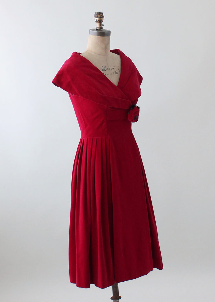 Vintage 1950s Red Velvet Holiday Party Dress