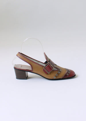 Vintage 1960s MOD Two Toned Slingback Loafers