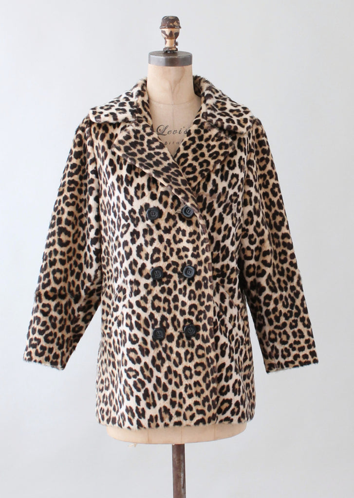 Vintage 1960s Leopard Print Faux Fur Car Coat