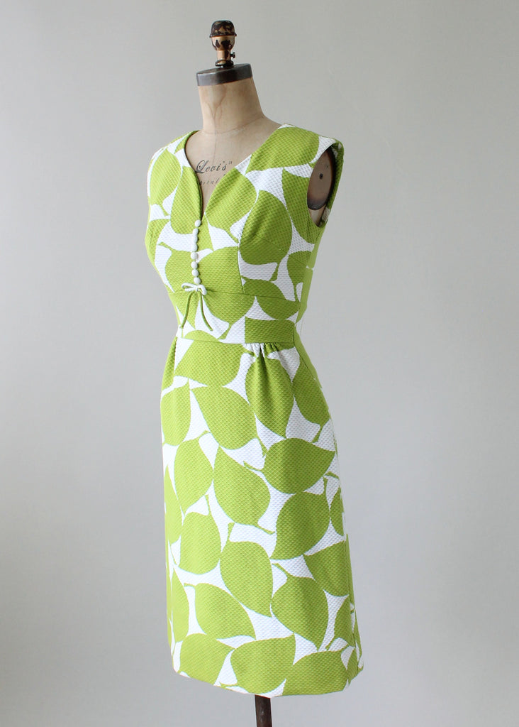 Vintage 1960s Lime Leaves Cotton Day Dress