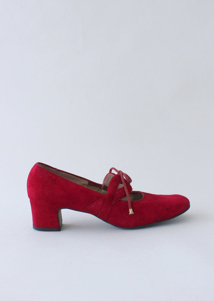 Vintage 1960s MOD Red Mary Janes Shoes