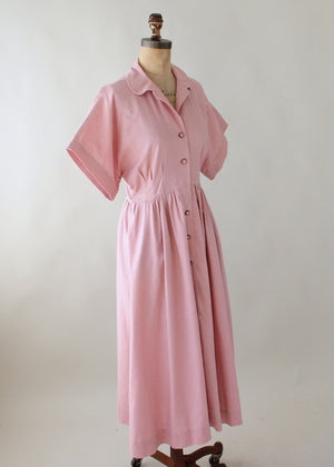 Vintage 1970s Mauve Linen Button Front Day Dress