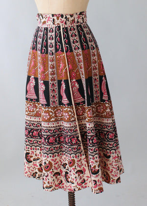 Vintage 1970s Indian Cotton Block Print Wrap Skirt