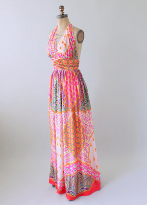 Vintage 1970s Scarf Print Halter Maxi Dress and Shawl
