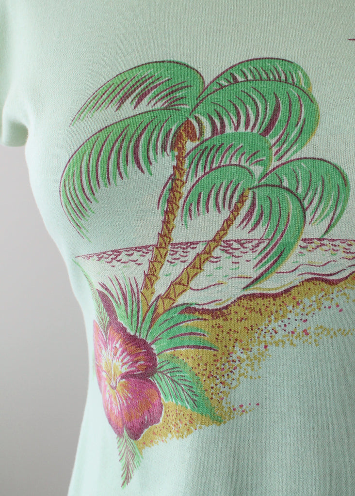 Vintage 1970s Mint Green Tropical Babydoll Shirt
