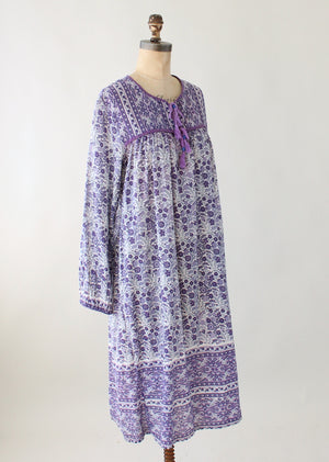 Vintage 1980s Purple Indian Cotton Summer Dress